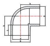 Koleno 90° lepení/lepení - průměr 40mm, k propojení trubek, PVC, černé, 0.11kg (313046) Hanscraft