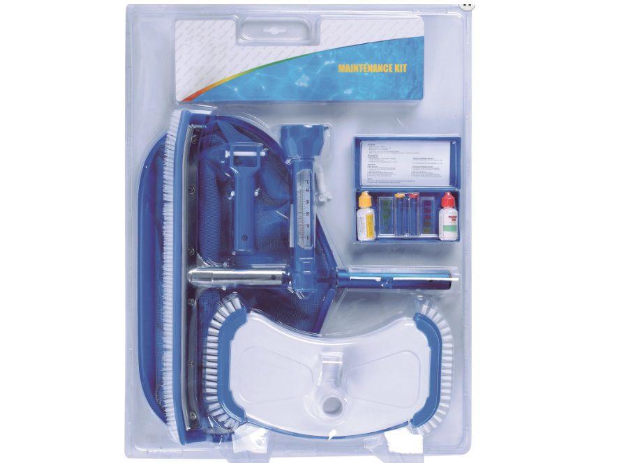 Sada bazénového příslušenství 3 - STANDARD PLUS, vysavač dna STANDARD PLUS, teploměr DELUX, tester pH & Cl kapičkový, bazénový kartáč vyztužený 45cm, síťka hlubinná velká s ALU rámem, držák vysavače pro připojení k teleskopické tyči 2.5kg (311903) Hanscraft
