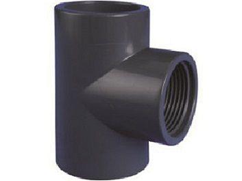 """T-kus 90° lepení/závit interní 25x1/2"""", ke spojení trubek, PVC, černý, 0.04kg (313421) Hanscraft"""