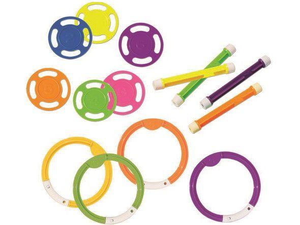 3v1 Combo set potápějících se hraček, sada bazénových hraček, různé barvy, plast, 0.55kg (311400) Hanscraft