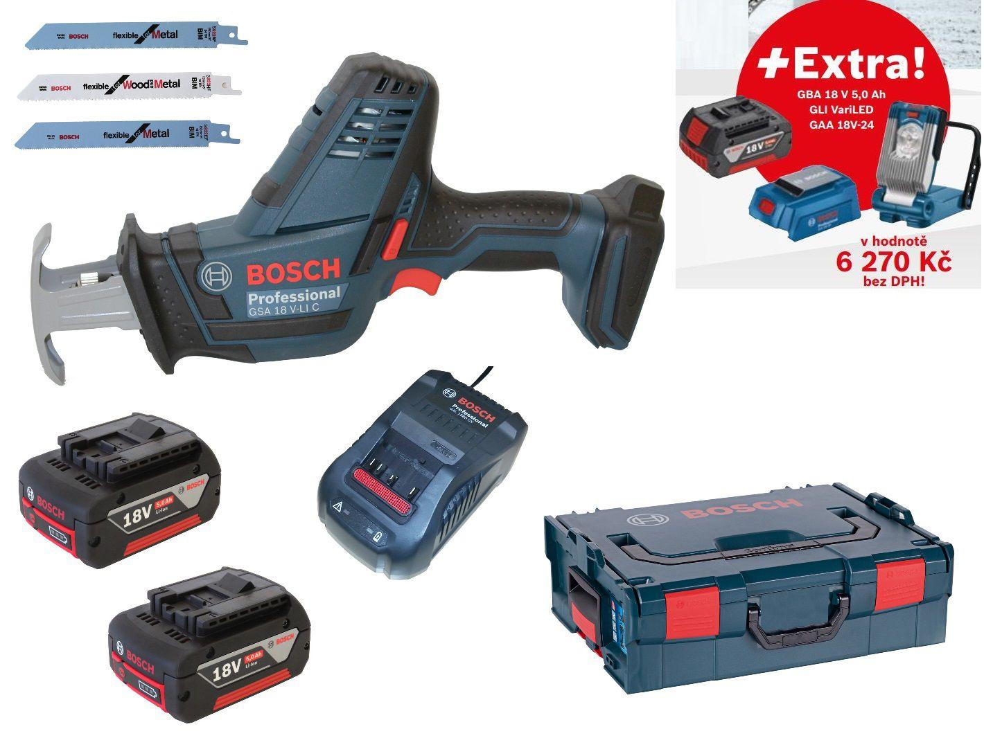 Aku pila ocaska Bosch GSA 18 V-LI C Professional - 2x aku 18V/5.0Ah + extra 1x aku 5.0Ah + svítilna GLI VariLED + USB adaptér GAA 18V-24, v kufru L-BOXX (06016A5002) Bosch Professional
