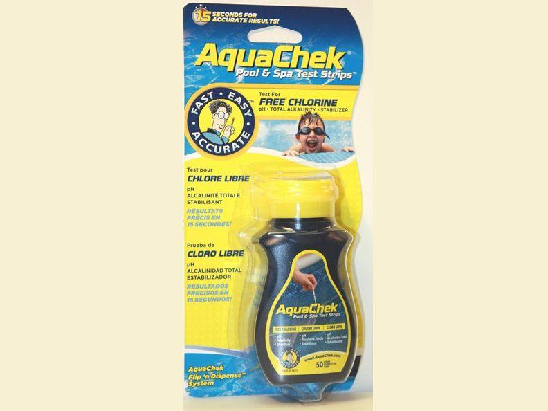 AquaChek testovací proužky - 4v1 - volný chlor, pH, celkovou alkalitu, kyselina Kyanurová (stabilizátor), k testování vody v bazénu a vířivce, 0.1kg (318342) Hanscraft