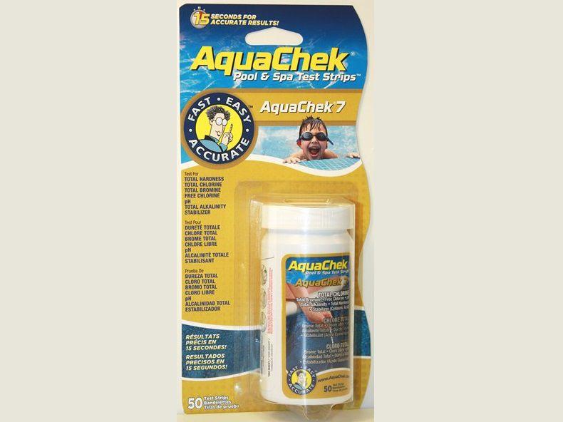 AquaChek testovací proužky - 7v1 (BL) - celkovou tvrdost, celkový chlor, celkový brom, volný chlor, pH, celkovou alkalitu, kyselina kyanurová, 0.1kg (318343) Hanscraft
