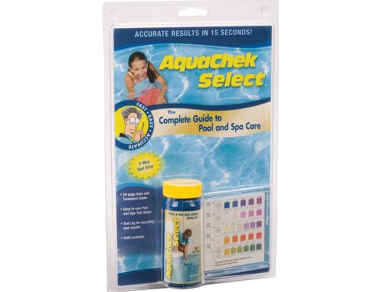 AquaChek testovací proužky - 7v1 - CL+stupnice, celkovou tvrdost vody, celkový chlor, celkový brom, volný chlor, pH, celkovou alkalitu, kyselina kyanurová, 0.2kg (318344) Hanscraft