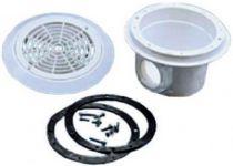 """Bazénová dnová výpusť kruhová - odtok 2"""" - mosazné zástřiky, pro fólii, bílý ABS plast, 0.6kg"""