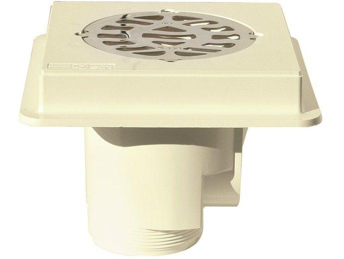 Bazénová podlahová výpusť ABS, nerez SS316, pro beton - MTS, bílý plast, čtverec, 0.7kg (308254) Hanscraft