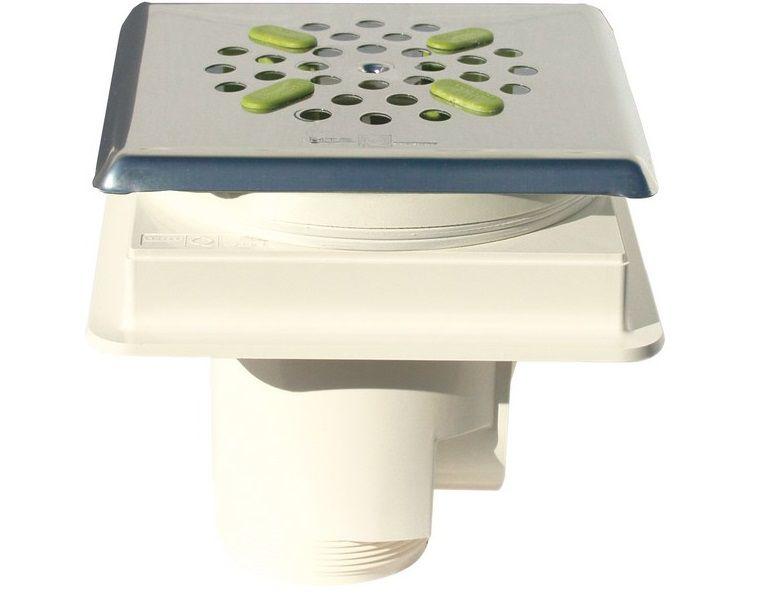 Bazénová podlahová výpusť ABS, nerez SS316, pro fólie, čtverec, bílý plast, 1.2kg (308257) Hanscraft