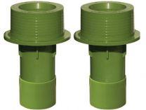 Bazénový průchod stěnou s mosaznými zástřiky 50x63x150mm MTS, zelený ABS plast, 0.15kg