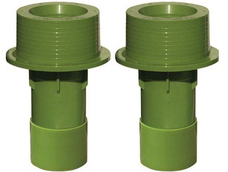 Bazénový průchod stěnou s mosaznými zástřiky 50x63x150mm MTS, zelený ABS plast, 0.15kg (308247) Hanscraft