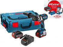 Bosch GSB 18 VE-EC Professional - 2x 18V/5.0Ah + extra 1x Aku + GLI VariLED + GAA 18V-24