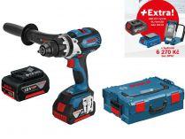 Bosch GSR 18 VE-EC Professional - 2x18V/5.0Ah + extra 1x Aku + GLI VariLED + GAA 18V-24 + L-Boxx