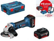 Bosch GWS 18-125V-LI Professional - 2x 18V/5.0Ah + extra 1x Aku + GLI VariLED + GAA 18V-24 + L-Boxx