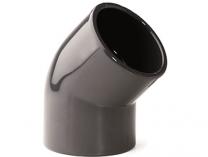 Koleno 45° lepení/lepení - průměr 40mm - PT, černé, 0.028kg