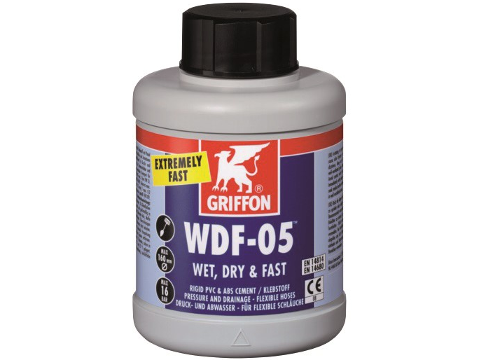 Lepidlo PVC GRIFFON WDF-05 rychloschnoucí - 250 ml - na lepení tahově pevných spojů tlakových rour (např. potrubí na pitnou vodu) s fitinky PVC-U, 0.25kg (317040) Hanscraft