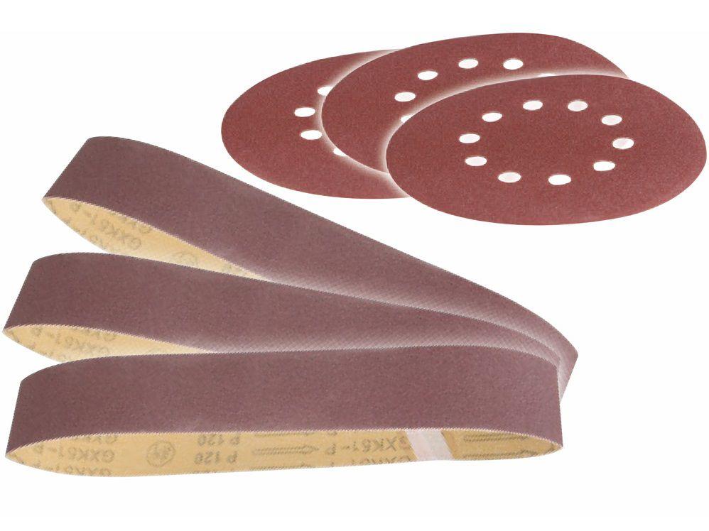 Sada brusných pásů a papírů pro Multifunkční pásovou a kotoučovou brusku Scheppach BTS 700 - 0.17kg (Scheppach 3903301707)