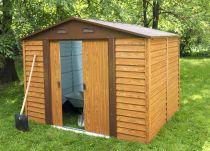 Plechový zahradní domek Tinman TIN706 - imitace dřeva, 278x323x214.5cm, 115kg