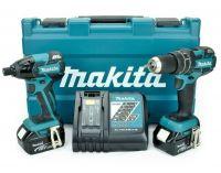 Makita DLX2006M 2-dílná sada aku nářadí - 18V, Bezuhlíkový aku šroubovák Makita DDF459 + Aku rázový utahovák DTD129 + 2x aku BL1840, v kufru