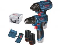 Sada aku nářadí Bosch GSR 120-LI + GDR 120-LI Professional - 2x 12V/1,5Ah, Al kufr, sada vrt. a bitů