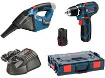 Sada aku nářadí 12V: Bosch GSR 12V-15 + Bosch GAS 12V, 2x aku 12V/2.0Ah, nabíječka, kufr L-BOXX
