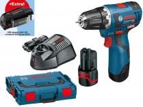 Bosch GSR 12V-20 Professional - 2x 12V/3.0Ah + extra 1x Aku + USB adaptér GAA 12V + L-Boxx