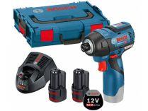 Bosch GDR 12V-110 Professional - 2x 12V/3.0Ah, 110Nm, 1kg, bezuhlík. aku rázový utahovák, kufr