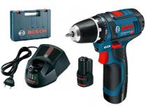 Bosch GSR 12V-15 Professional - 2x 12V/2.0Ah, 30Nm, 2 rychl., 0.95kg, kufr, aku vrtačka bez příkl.