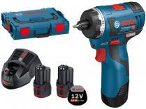 Bosch GSR 12V-20 HX Professional - 2x 12V/3.0Ah, 20Nm, 0.7kg, bezuhlíkový aku šroubovák, L-Boxx