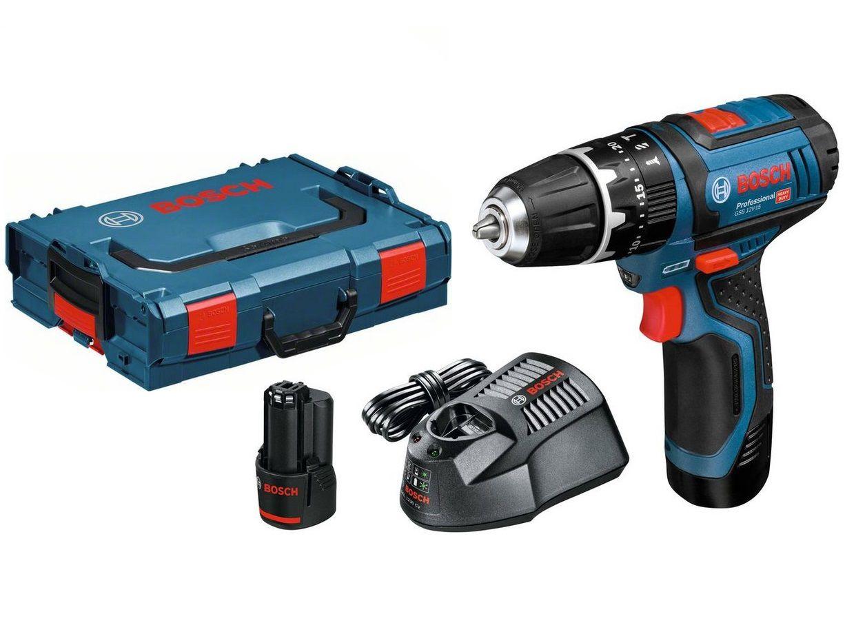 Bosch GSB 12V-15 Professional aku vrtačka s příklepem, 2x aku 12V/2.0Ah + kufr L-Boxx (06019B6906) Bosch PROFI