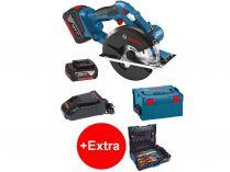 Bosch GKM 18 V-LI Professional - 2x 18V/5.0Ah, 136mm, 2.7kg, kufr L-BOXX, aku kotoučová pila + dárek