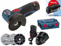 Bosch GWS 12V-76 Professional - 2x 12V/3.0Ah, + USB adaptér GAA 12V, kufr L-Boxx, aku úhlová bruska