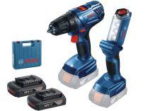 Bosch GSR 180-LI Professional - 2x 18V/1.5Ah, 54Nm, kufr, aku vrtačka bez příklepu + aku svítilna