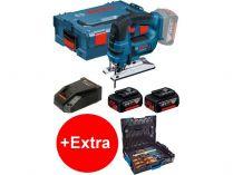 Bosch GST 18 V-LI B Professional - 2x 18V/5.0Ah Li-ion, 2.4kg, kufr, aku přímočará pila + dárek