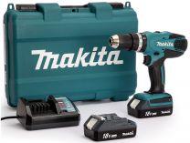 Makita HP457DWE - 2x 18V/1.3Ah, 42Nm, 2 rychl., 1.7kg, kufr, aku vrtačka s příklepem