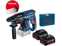 Kombi aku kladivo Bosch GBH 180-LI Professional - 2x aku 18V/4.0Ah, 1.7J + protiprachový kryt, kufr