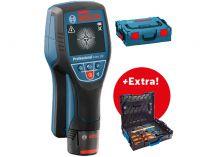 Detektor Bosch D-tect 120 Professional - 1x 10.8V/1.5Ah, 0.5kg, kufr + dárek