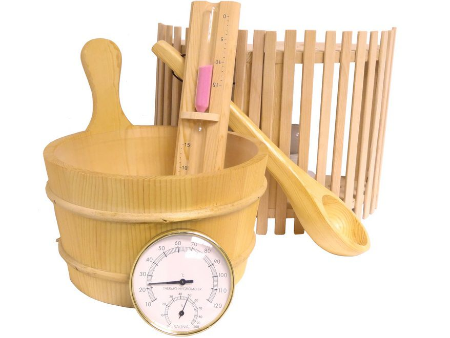 FRANCE SAUNA ZEN saunový set: 2x rohové světlo, přesýpací hodiny, teploměr a vlhkoměr, vědro, naběračka, 5kg (176210) Hanscraft
