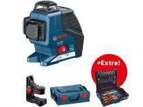 Křížový laser Bosch GLL 3-80 C Professional + držák BM 1 - 1x 12V/2.0Ah, 0.9kg, kufr + dárek