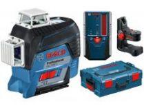 Křížový laser Bosch GLL 3-80 C Professional + držák BM 1 + přijímač LR 6 - 1x 12V/2.0Ah, kufr L-BOXX