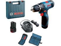 Bosch GSB 120-LI Professional - 2x 12V/1.5Ah, aku vrtačka s příklepem + Sada vrtáků a bitů, kufr
