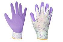 Zahradní rukavice s latexovou vrstvou FLOWER LILA velikost 7 -…
