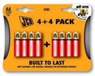 JCB zinko-chloridová baterie AA/R06, blistr 8 ks