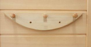 Dřevěné 3-poutko na ručníky do infrasauny - kanadský jedlovec
