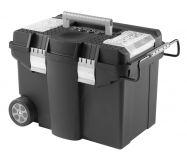 Plastový pojízdný kufr, tažná rukojeť 580x380x400mm, kovové…
