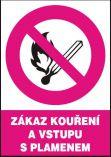 Zákaz kouření a vstupu s plamenem - samolepka A5