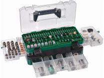 389 dílná sada příslušenství pro přímé brusky Hitachi 753949, transparentní kufr
