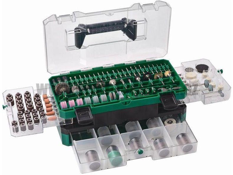 389 dílná sada příslušenství pro přímé brusky Hitachi 753949, transparentní kufr Hitachi / HiKOKI