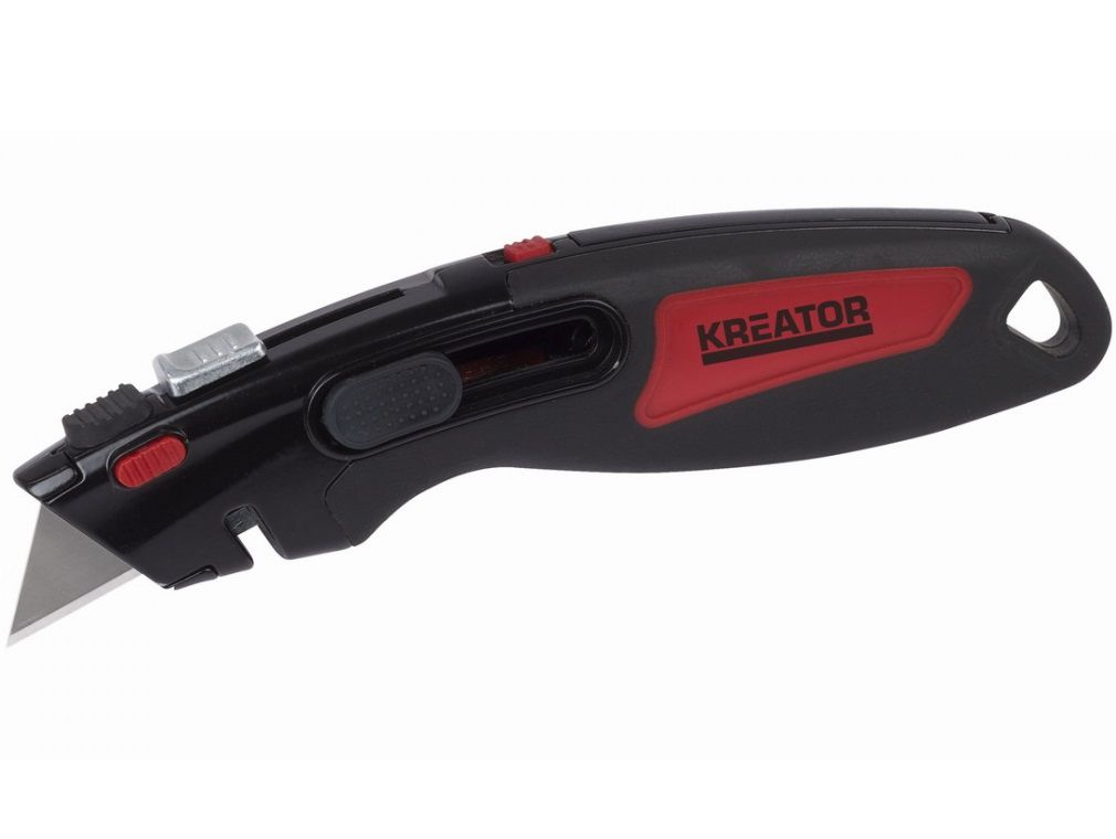 HD automaticky zatahovací pracovní nůž 2v1 Kreator KRT000308 - 5 ks čepele navíc, 0.25kg (KRT000308)
