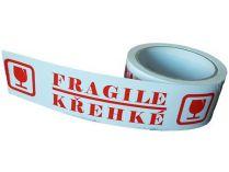 Lepící páska 48mm x 50m, TAPE & GO, potisk KŘEHKÉ / FRAGILE