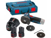 Bosch GWS 12V-76 Professional - 2x 12V/3.0Ah, 76mm, 0.7kg, kufr, příslušenství, aku úhlová bruska
