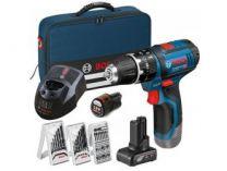 Bosch GSB 12V-15 Professional - 1x12V/4.0Ah, 1x12V/2.0Ah, přísl., taška, aku vrtačka s příklepem